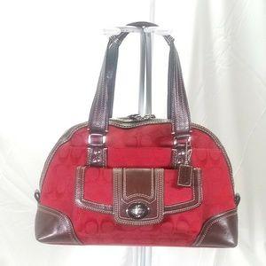 🎄Coach Hamptons Jacquard & Leather Red Satchel